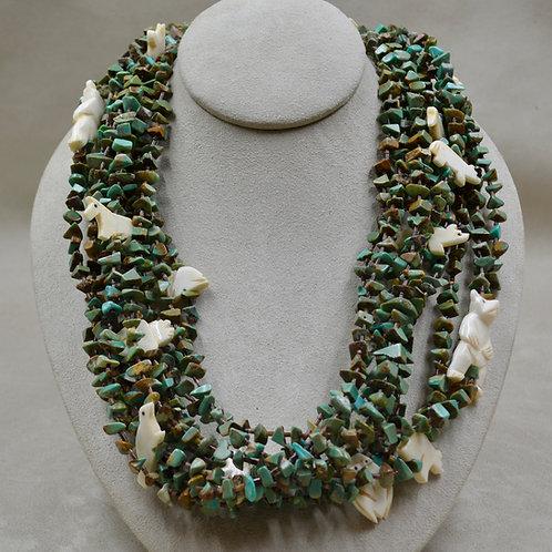 10 Strand Santo Domingo/Zuni Royston Turquoise, Antler, Heishi Necklace