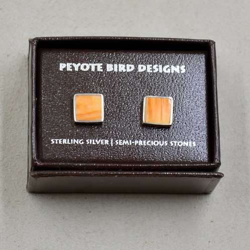 Flat Square Spiny Oyster Post Earrings by Peyote Bird Designs