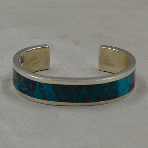 Red Mountain Turquoise Flat Inlay Sterling Silver Cuff by John Rippel