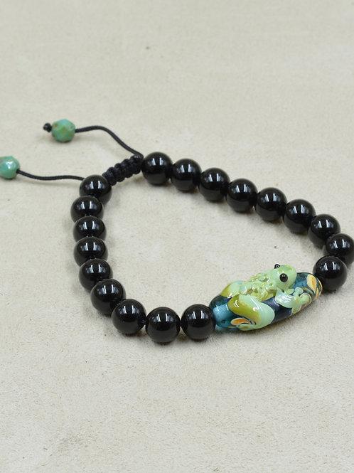 Meditation Bracelet w/ Black Onyx, Lampwork Glass Frog Bead by True West