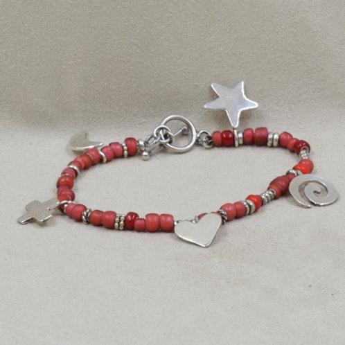 Red, White Hearts and Stars Charm Bracelet by Richard Lindsay