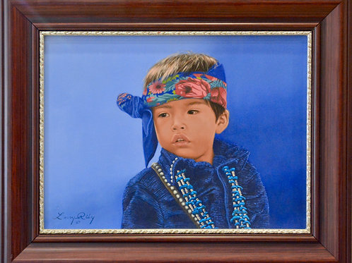 """'Indian Jewelry Boy' Oil on Canvas 16"""" x 20"""" by Larry Riley"""
