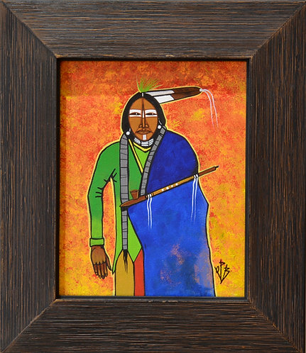"""Peaceful Kiowa"" Ac on Canvas Framed 14"" x 12.5"" - by Quanah Parker Burgess"