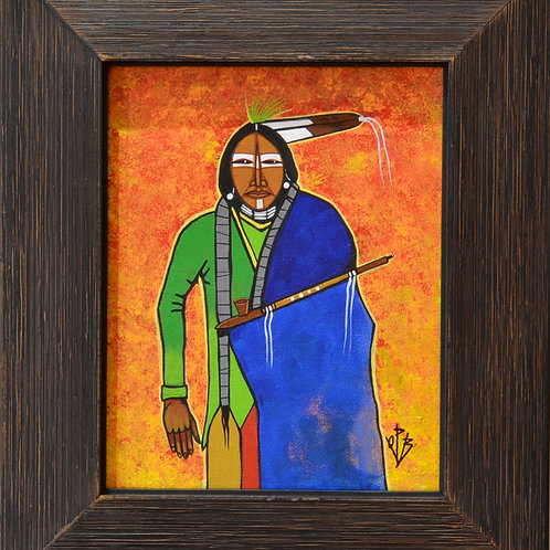 """Peaceful Kiowa"" Ac on Canvas Framed 14"" x 12.5"" - by Quanah Parker Burgess"