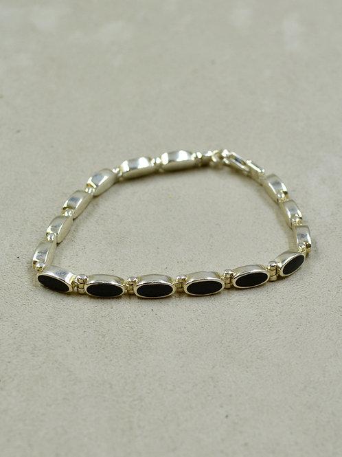 Sterling Silver Onyx Ovals Tennis Bracelet by Peyote Bird