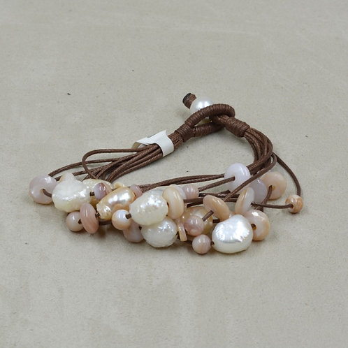 Cultured Freshwater Pearl, Shell Beads on Brown Cord by US Pearl Co.