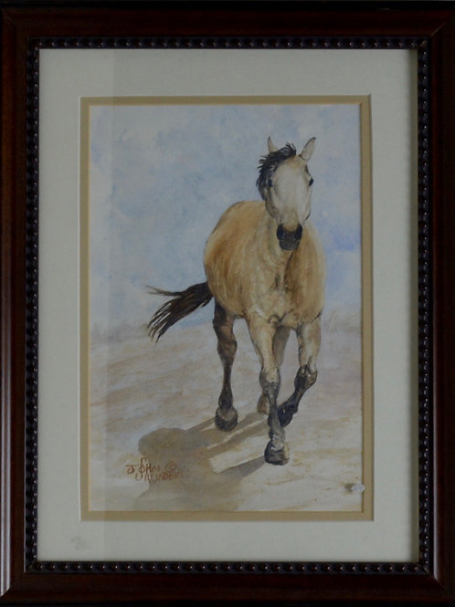 """'Lunch Time' - Framed Watercolor - 16"""" x 12"""" - by John Saunders"""