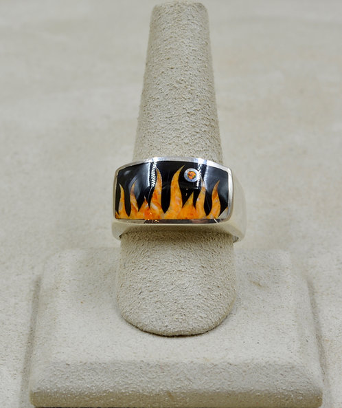 Flame 11.5x Ring w/ S. Silver w/ Black Jade, Spiny Oyster by GL Miller