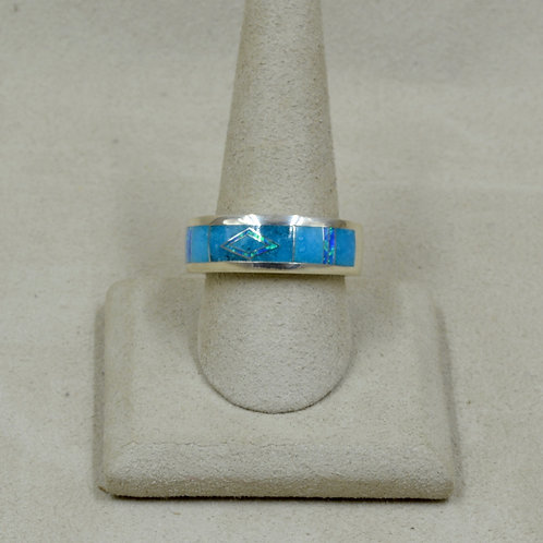 Kingman Turquoise, Lab Opal, Sterling Silver 10.5x Ring by GL Miller Studio