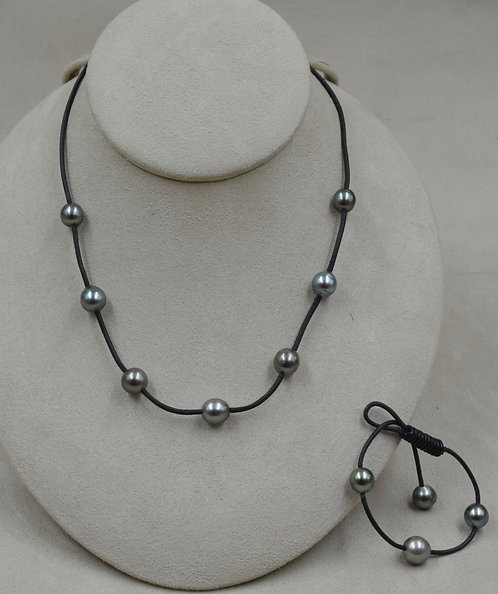 Tahitian Pearls on Black Leather Bracelet & Necklace Set by US Pearl Co.