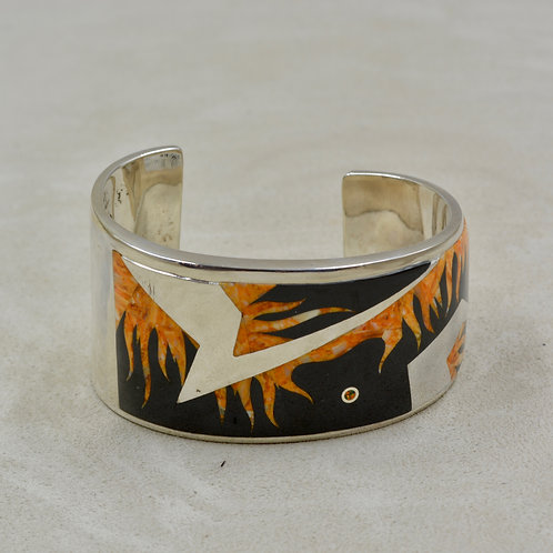Flame Cuff w/ S. Silver w/ Black Jade, Spiny Oyster by GL Miller