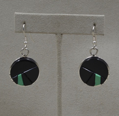 Black Jade and Green Turquoise Earrings by Dukepoo