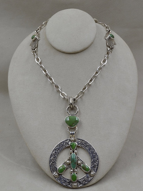 S. Silver Peace Sign w/ Hi-Grade Nevada Turquoise Necklace by Melanie DeLuca