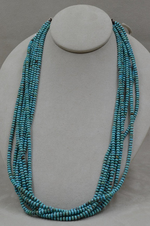 7-Strand Blue Kingman Turquoise w/ Shell Heishi Necklace by Kenneth Aguiar