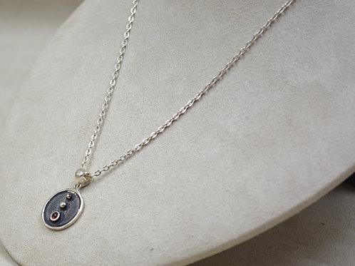 Bindu Mindfulness w/ Garnet Necklace on Chain by Roulette 18