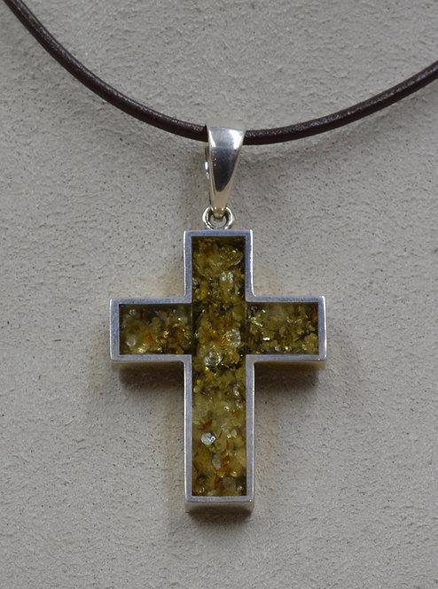 Green Amber Medium Thick Cross Pendant by MTM Silver