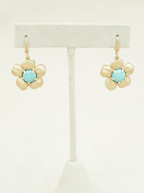 10k Gold Plum Flower w/ Chinese Turquoise Earrings by Reba Engel