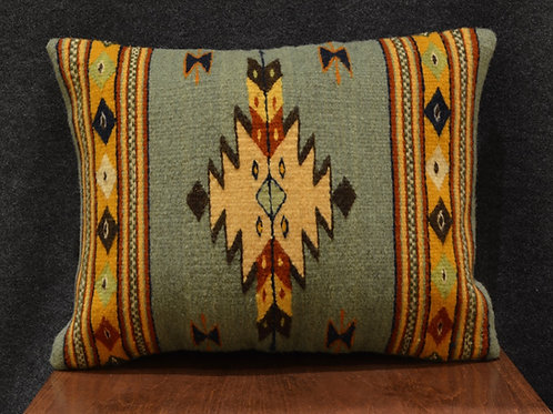 "Set of 2 Centered Geometric Green, Yellow, Beige Zapotec 15""x20"" Pillows"