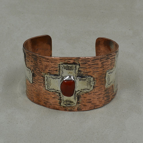 Copper w/ Coral Celtic Crosses Cuff by Richard Lindsay