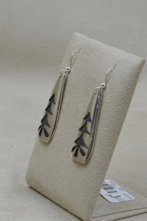 "Sterling Silver ""Healing Plant"" Hopi Overlay Earrings by Koinva"