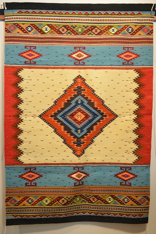 Fino Centered Geometric No Fringe X-Large Zapotec Weaving