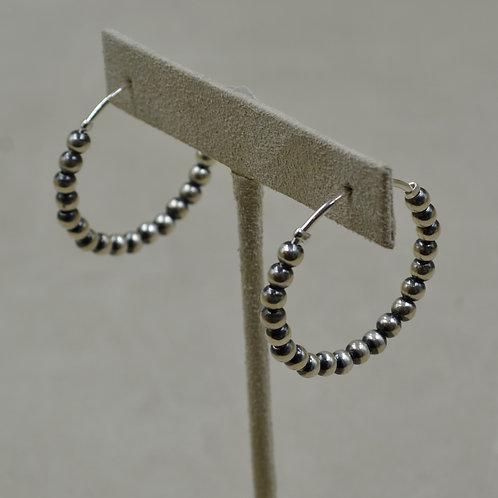 Small Sterling Silver Beaded Hoop Earrings by Shoofly 505