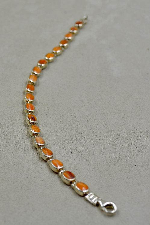 Orange Spiny Oyster Oval Tennis Bracelet by Peyote Bird Designs