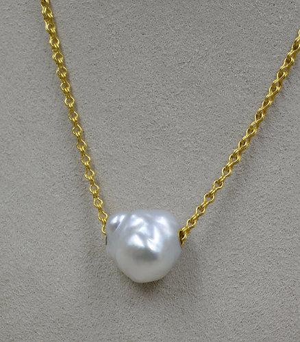 Big Baroque Single S. Sea Pearl on Mini Sailors Knot Chain by Pamela Farland