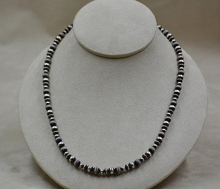 """Navajo Pearls Sterling Silver Oxidized Multi-Beads and Saucers 18"""" Necklace"""