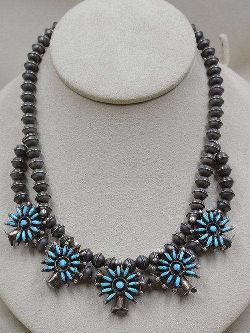 Vintage 40's Zuni Choker w/ Handmade Beads and Blue Turquoise