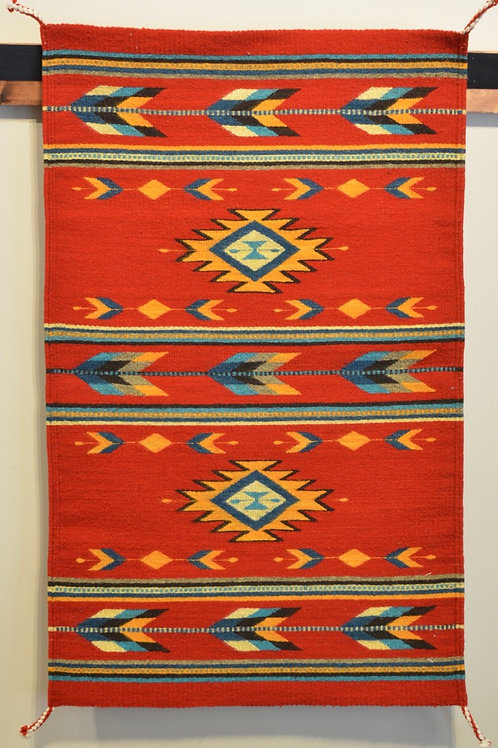 """Red Paneled Geometric Zapotec Weaving with No Fringe 24"""" X 36"""""""