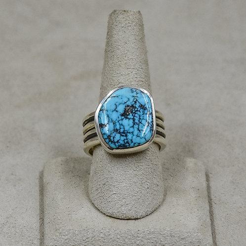 Hi-Grade Tyrone Turquoise 9.5x Ring from True West/John Paul Rangel