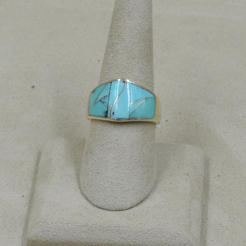 Kingman Turquoise & Sterling Silver 8x Ring by GL Miller Studio