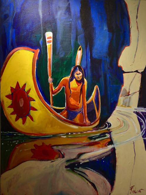 """""""Canyon Reflections"""" Acrylic on Canvas 48"""" x 36"""" by Malcolm Furlow"""