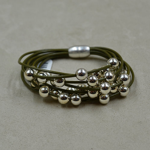 Olive Green Multi-Strand Sterling Silver Beaded Bracelet by Sippecan Designs
