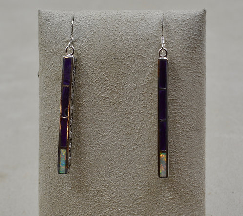 Sugilite & Opal Sterling Silver Medium Dancing Stick Earrings by Lente