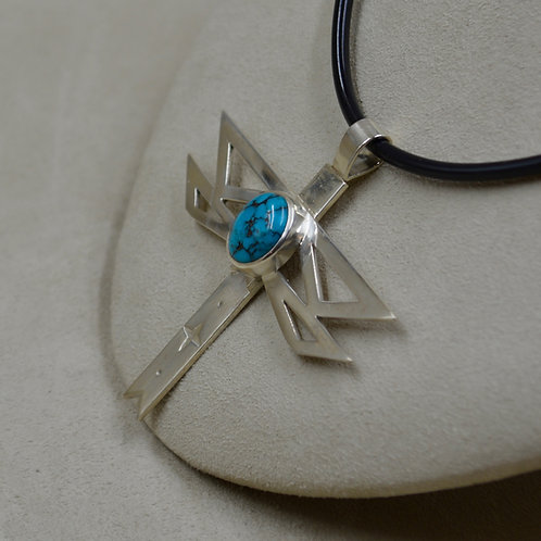 SS & Natural Indian Mountain Turquoise Dragonfly Pendant by John Paul Rangel