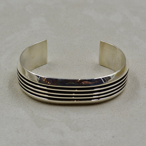 Oxidize Sterling Silver 5 Row Wide Cuff by Frances Jones