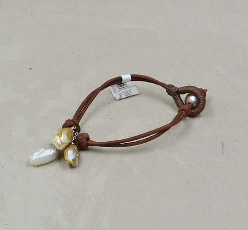 Feather Love Natural Pearl Bracelet on Brown Leather by US Pearl Co.