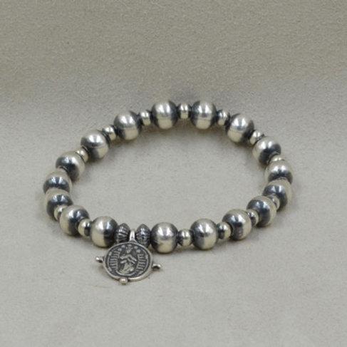 Sterling Silver St. Francis Stretch Bracelet by Shoofly 505