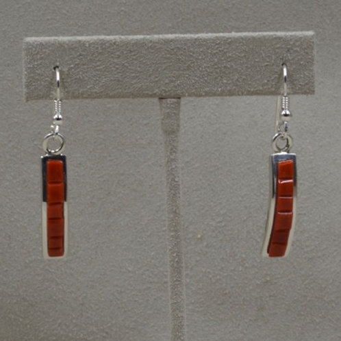 Sterling Silver and Coral Wire Earrings by Michael and Causandro Dukepoo