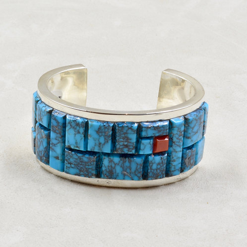 Wide Cobbled Kingman Turquoise & Coral, Silver Cuff by Tim Busch