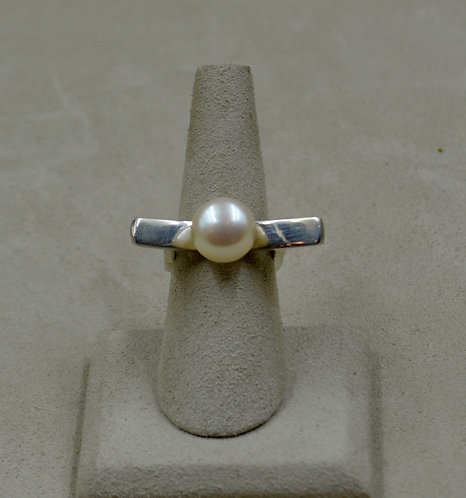 Contemporary White Freshwater Pearl & Sterling Silver Ring by Jacqueline Gala