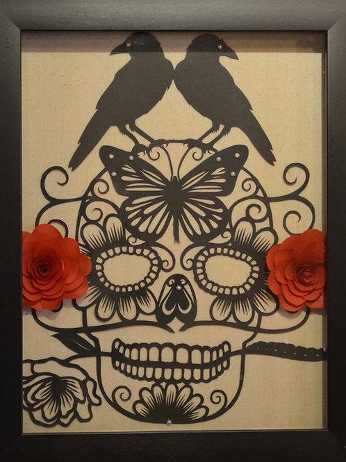 """""""Boxed Skull with Red Flowers"""" by Valerie Rangel"""