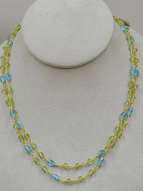 20 & 22k Gold, Sautoir, Apatite & Peridot Necklace by Pamela Farland