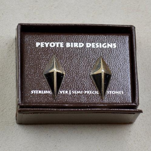 Large Onyx Kite Post Earrings by Peyote Bird Designs