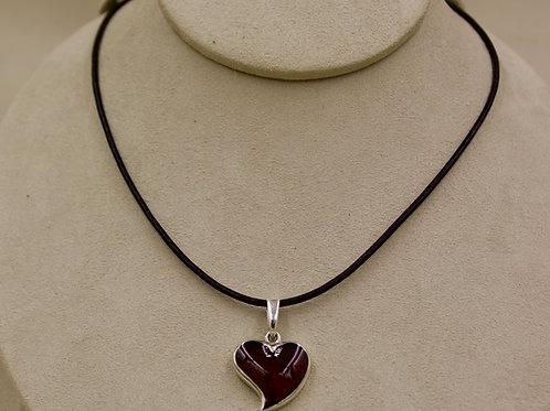 Red Amber & Sterling Silver Small Heart Pendant by MTM Silver