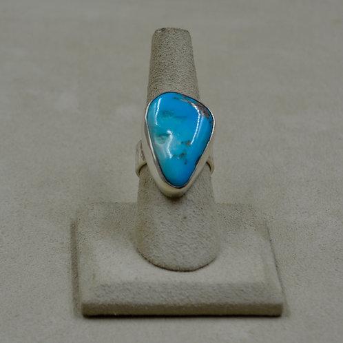 Sleeping Beauty Turquoise w/ Plain Sterling Silver Bezel 7.5x Ring by James Saun