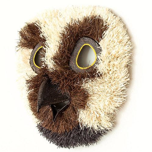 """Laughing Owl Emberá Mask by Roxana Barrigon - 14""""W x 14""""H"""