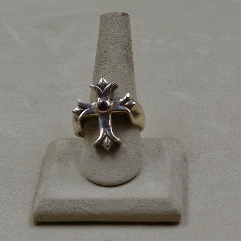Mens' Templar Cross Red Garnet 11.5x Ring by JL McKinney